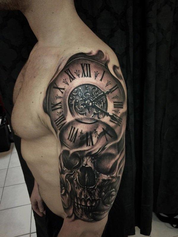 Clock of Death Skull Tattoo