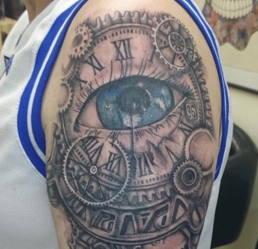 Clock and Eye Universe Tattoo