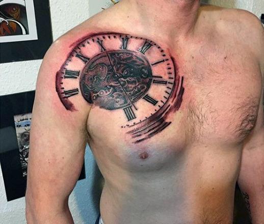 Darkened Chest Tattoo for Men