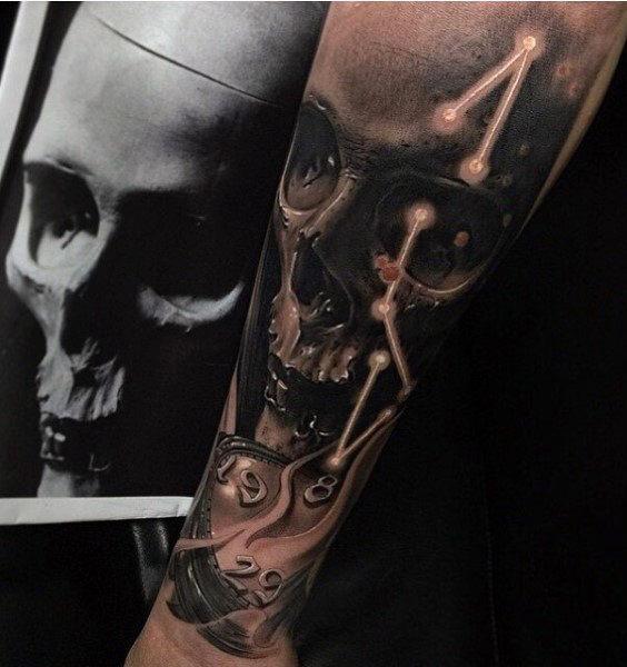 Clock Tattoo Below Skulls and Constellations