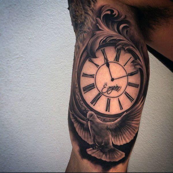 Inner Bicep Eagle Clock Tattoo for Men