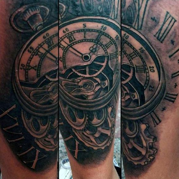 Magnified Clock Tattoo