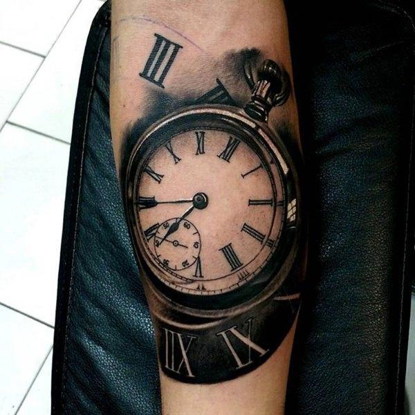 Clock in a Clock Tattoo Idea for Men