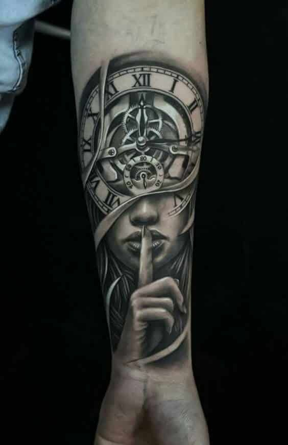 Clock and Woman Tattoo