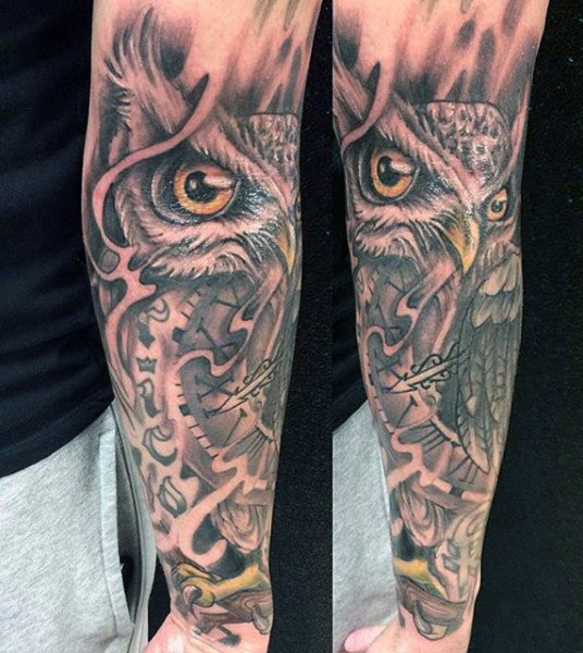 Owl and Clock Forearm Piece