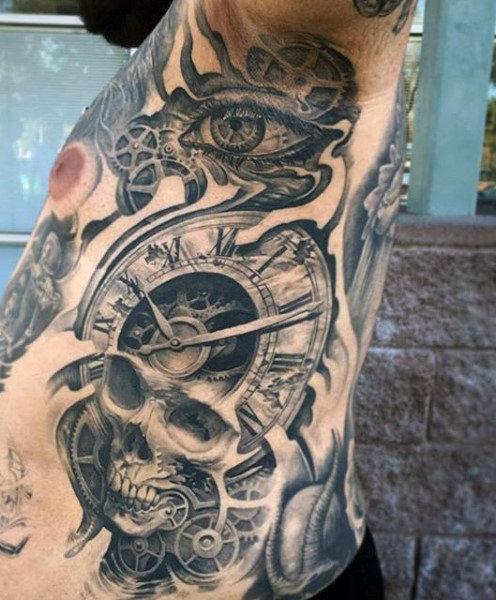 Part Skull Part Clock Tattoo For Men