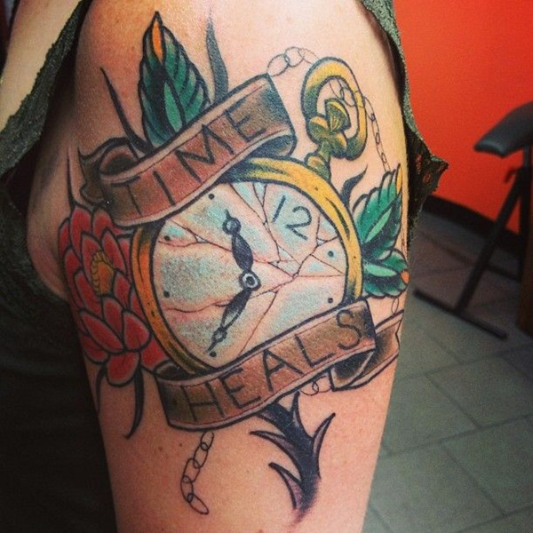 American Traditional Time Heals Clock Tattoo