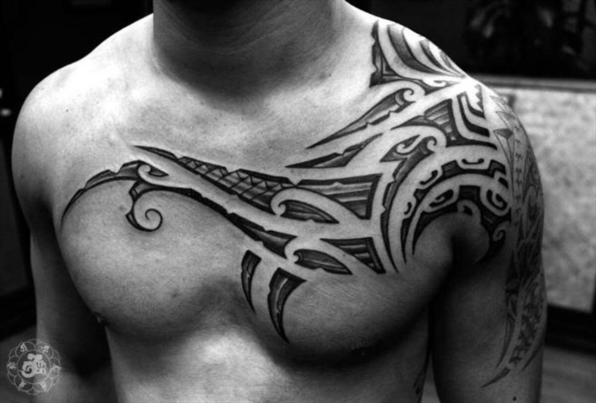 chest tribal inspiration tattoo