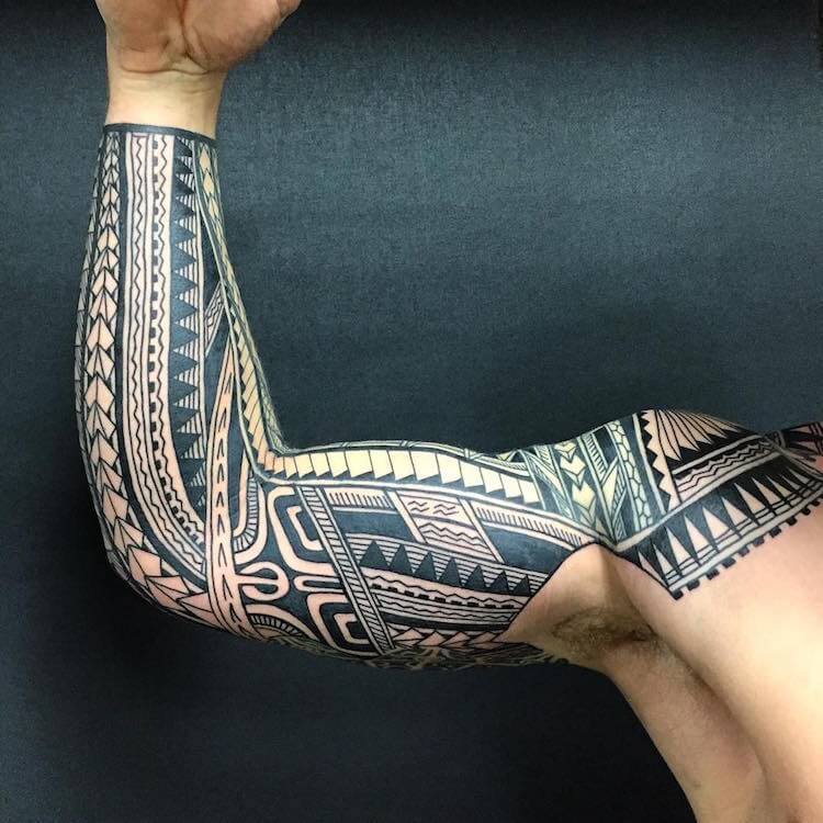 full sleeve tribal tattoo badass