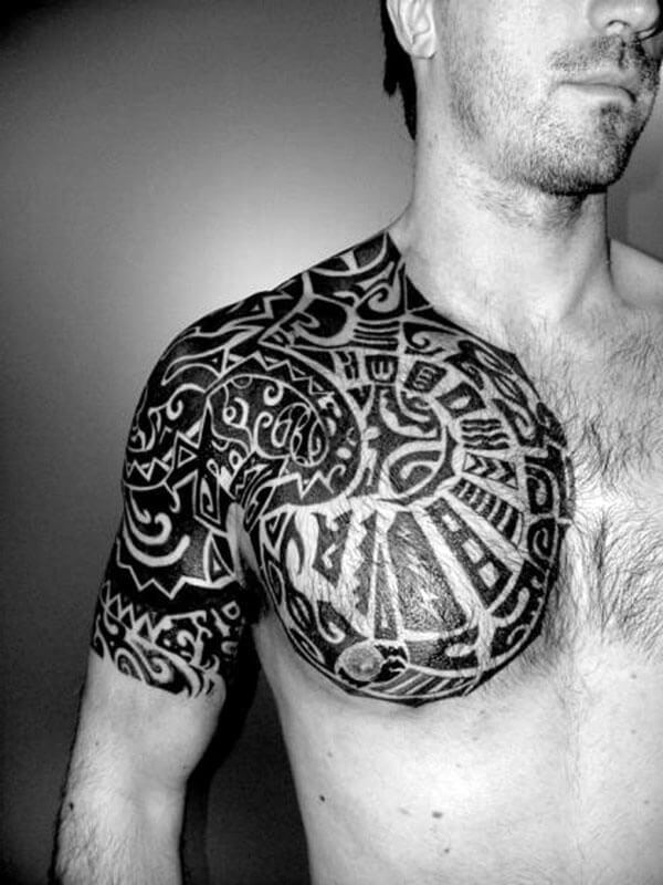chest shoulder tribal tattoos for men