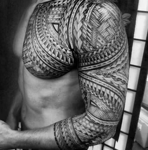 upper chest polynesian tribal tattoos for gentlemen