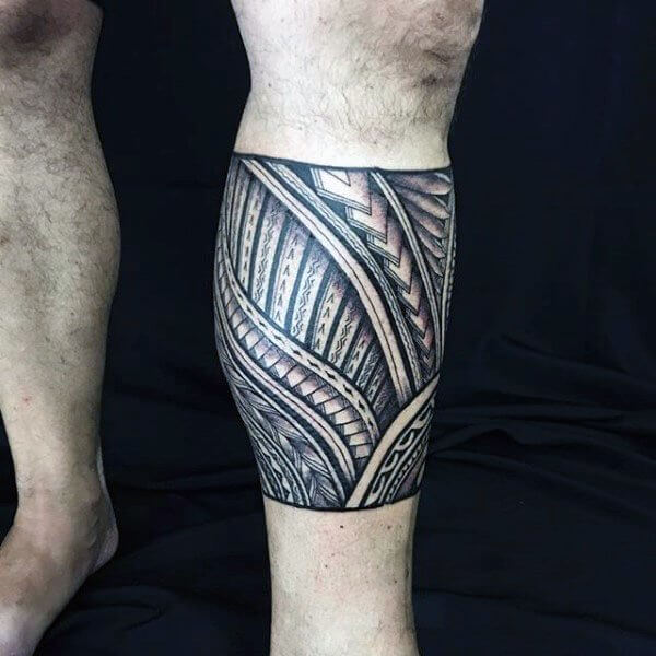 tribal tattoo on calf