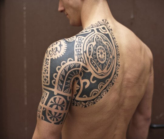 back tribal shield armor design tattoo