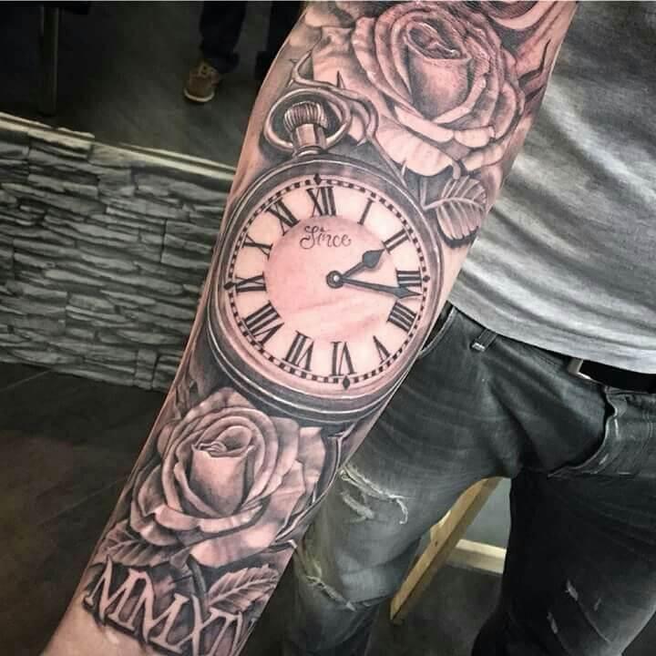 rose with stem tattoo