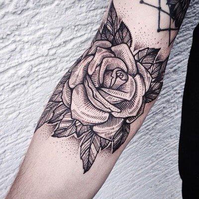 rose leg tattoos