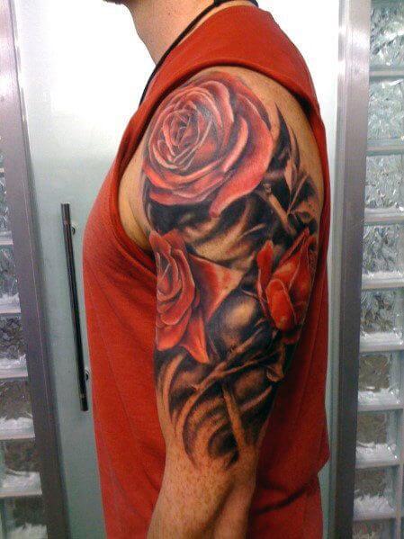 mens-half-sleeve-tattoos-rose-tattoo-sleeves