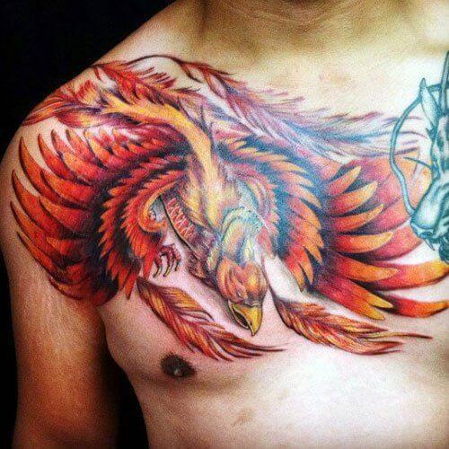 phoenix-tattoo-sleeve-phoenix-tattoos chest shoulder