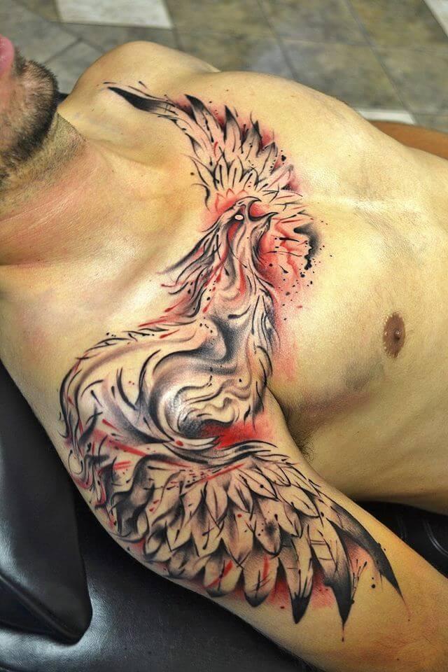phoenix-tattoo-sleeve-phoenix-tattoos chest and shoulder