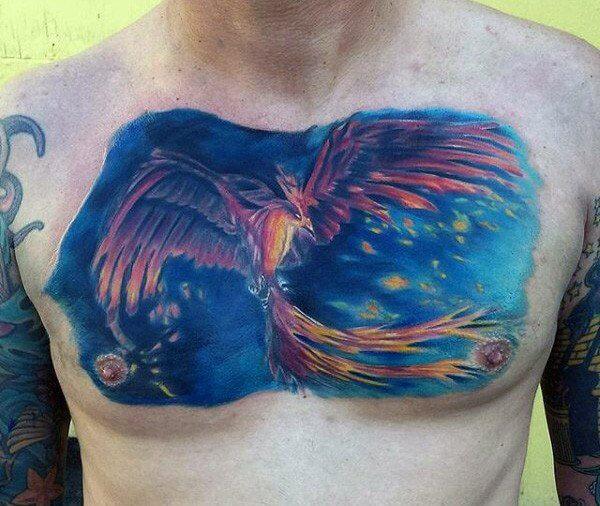 cool-blue-chest-phoenix-tattoo-men