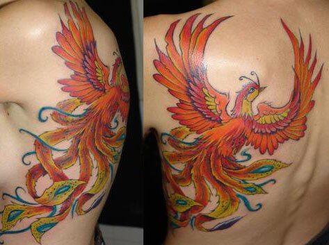 colored-flying-phoenix-back-tattoo