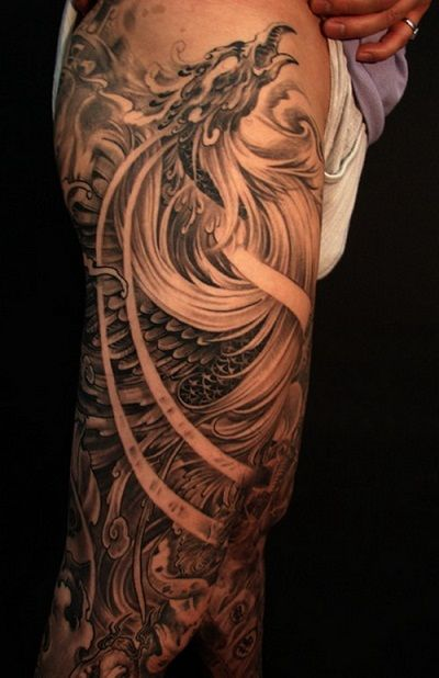 phoenix-tattoo-sleeve-phoenix-tattoos cool design