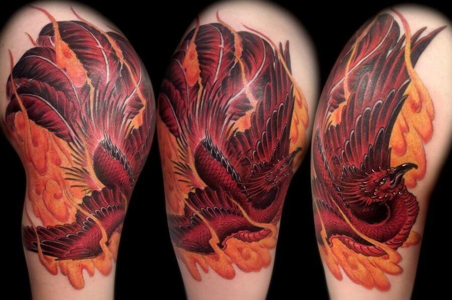 half sleeve phoenix tattoo inspiration