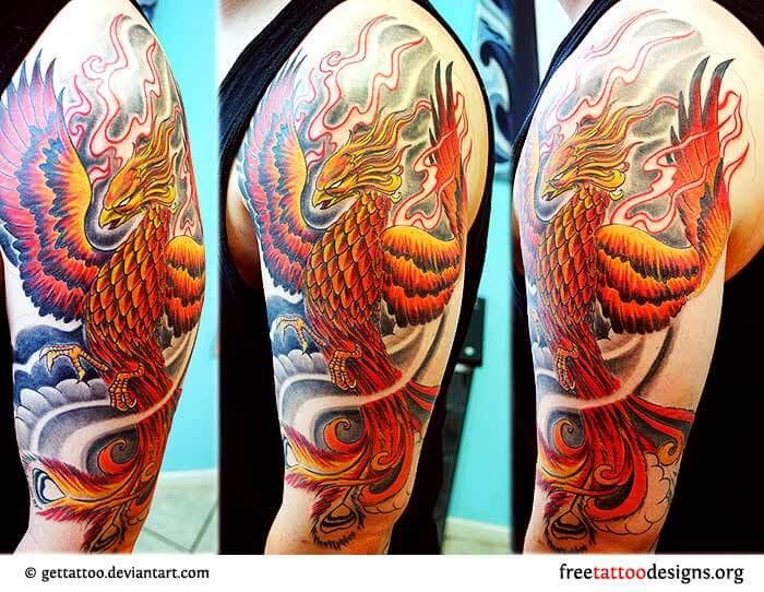 Flaming-Japanese-Phoenix-Tattoo-On-Man-Left-Half-Sleeve
