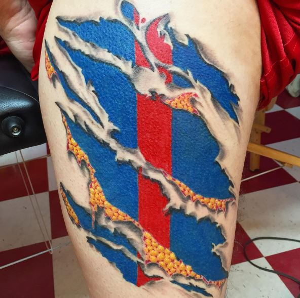 A Tattoo Design That Looks Like the Skin Pulls Back and Reveals Patriotism