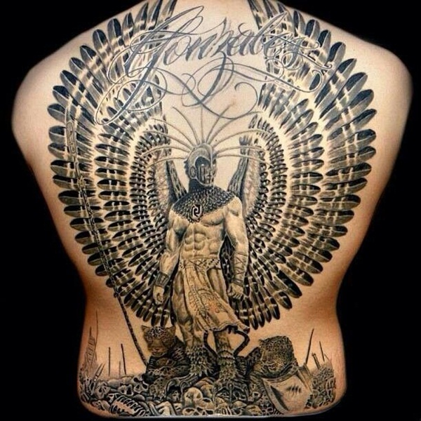 Warrior Surrounded Feathered Wings Memorial Tattoo