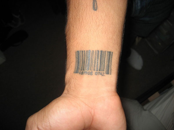 small barcode tattoo for men