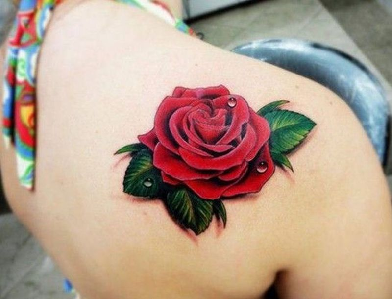 3d red rose tattoo