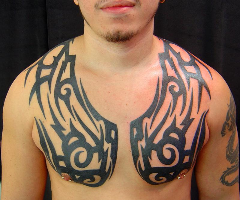 Best Chest Tribal Tattoos