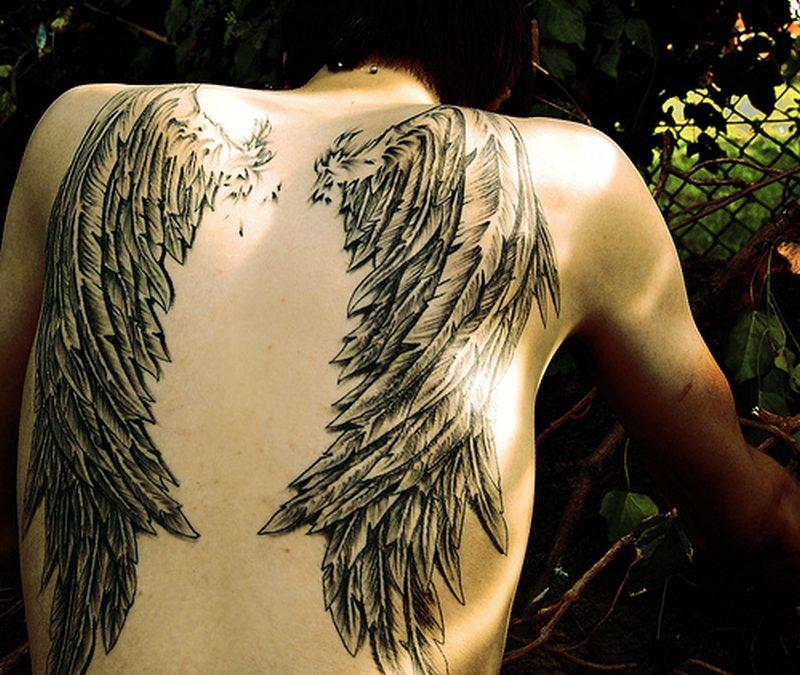 Black Angel Wing Tattoos