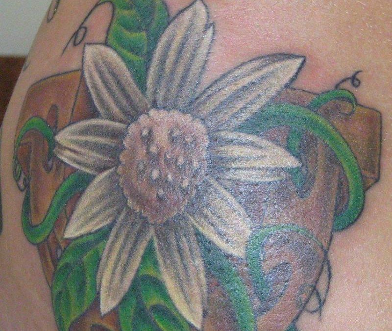 Bleeding Heart Flower Tattoo Hip