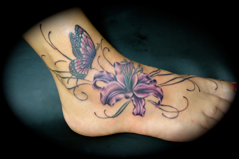 Butterfly Flower Ankle Tattoos