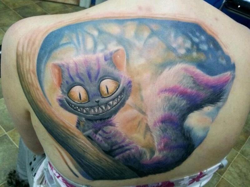 Cheshire Cat Tattoo Ribs