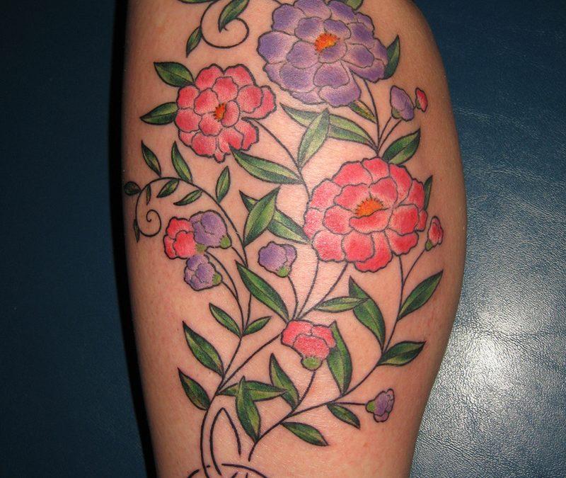 Flower Calf Tattoos For Women