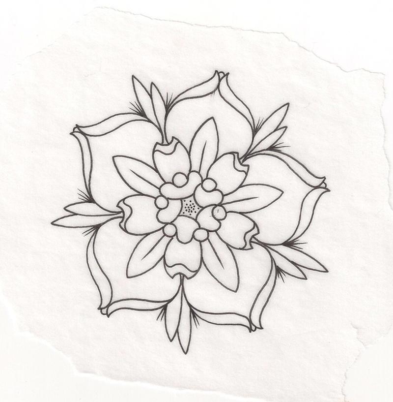 Flower Drawing Clip art - Flower Outline png download