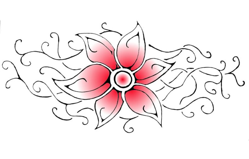 Tribal And Flower Design Tattoos