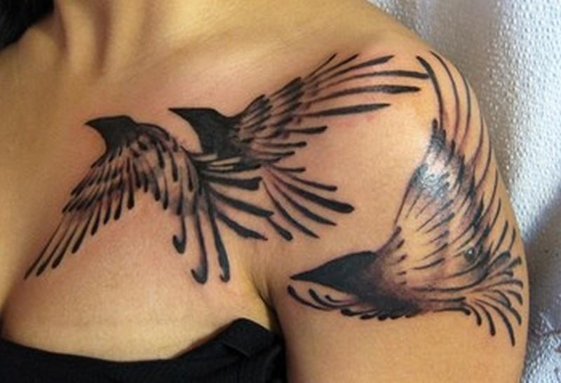 Abstract birds tattoo