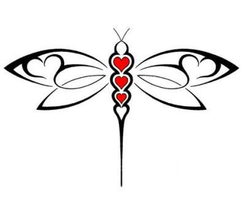 Abstract dragonfly with hearts tattoo design