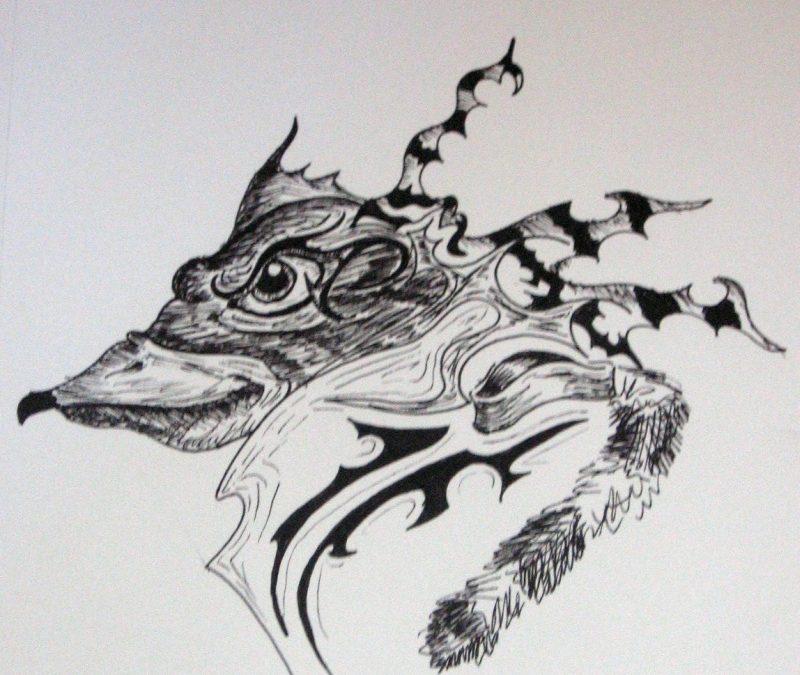 Abstract frog bird tattoo design
