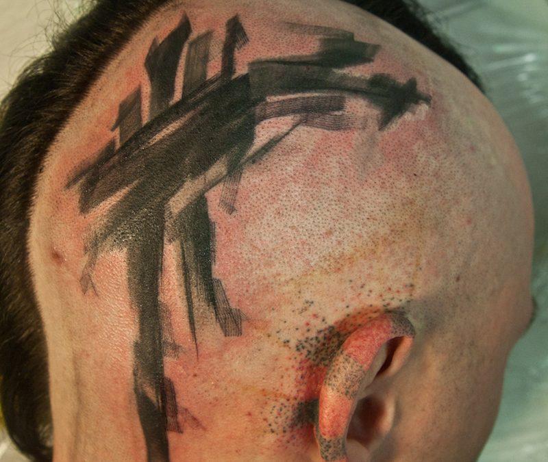 Abstract head tattoo brush style