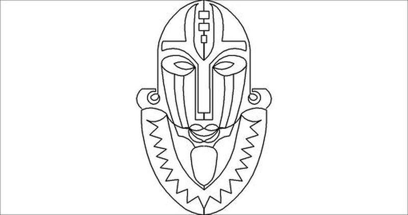 African mask tattoo