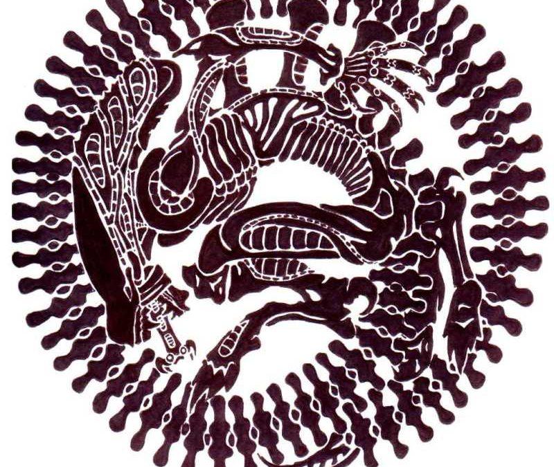 Alien tattoo pattern stencil pattern tattoo flash tattoo