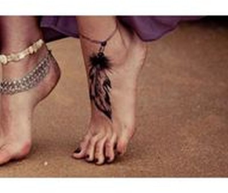 Amazing feather bracelet ankle tattoo