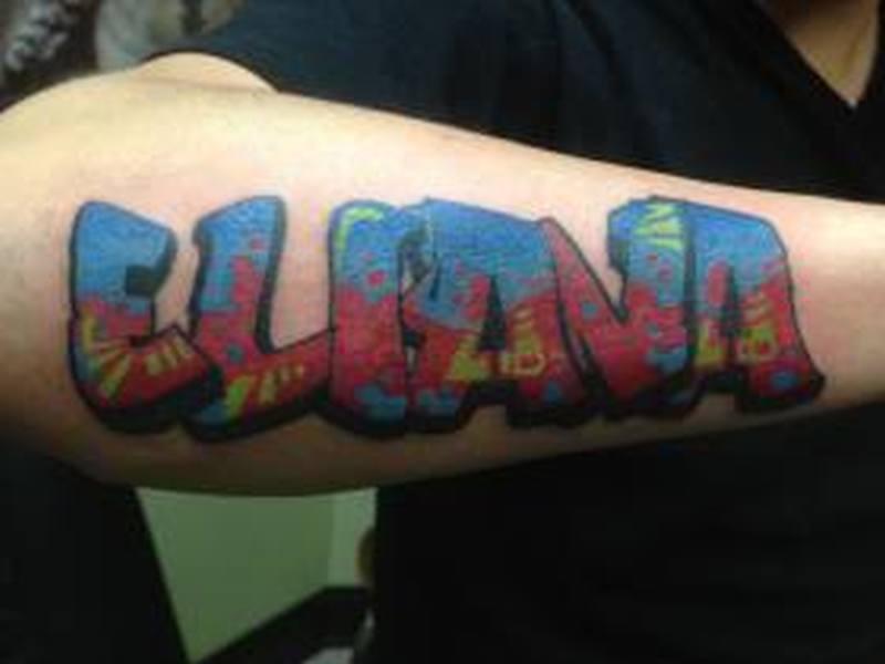 Amazing graffiti tattoo design for men