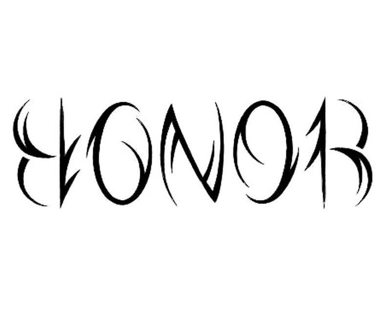 Amazing honor ambigram tattoo design