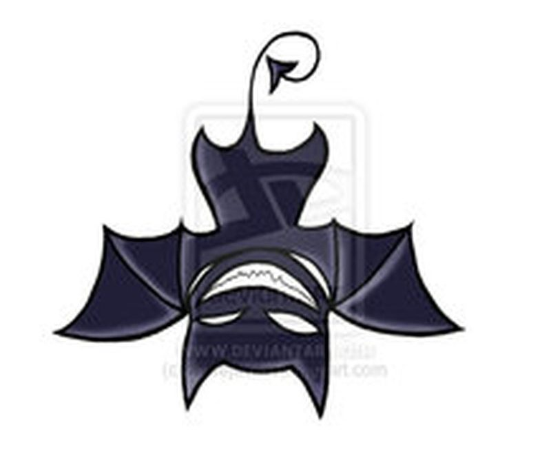 Amazing upside down bat tattoo design