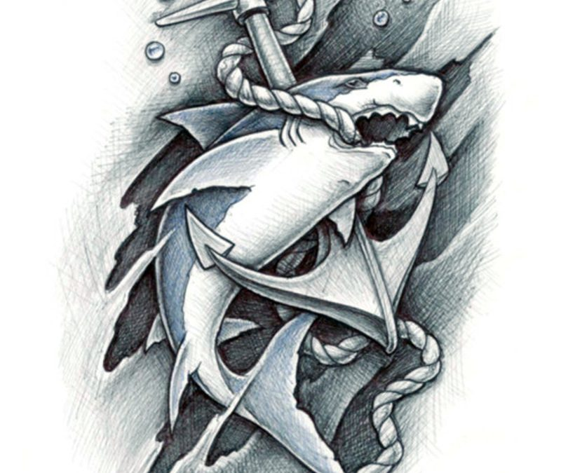 Anchor with rope in shark mouth tattoo